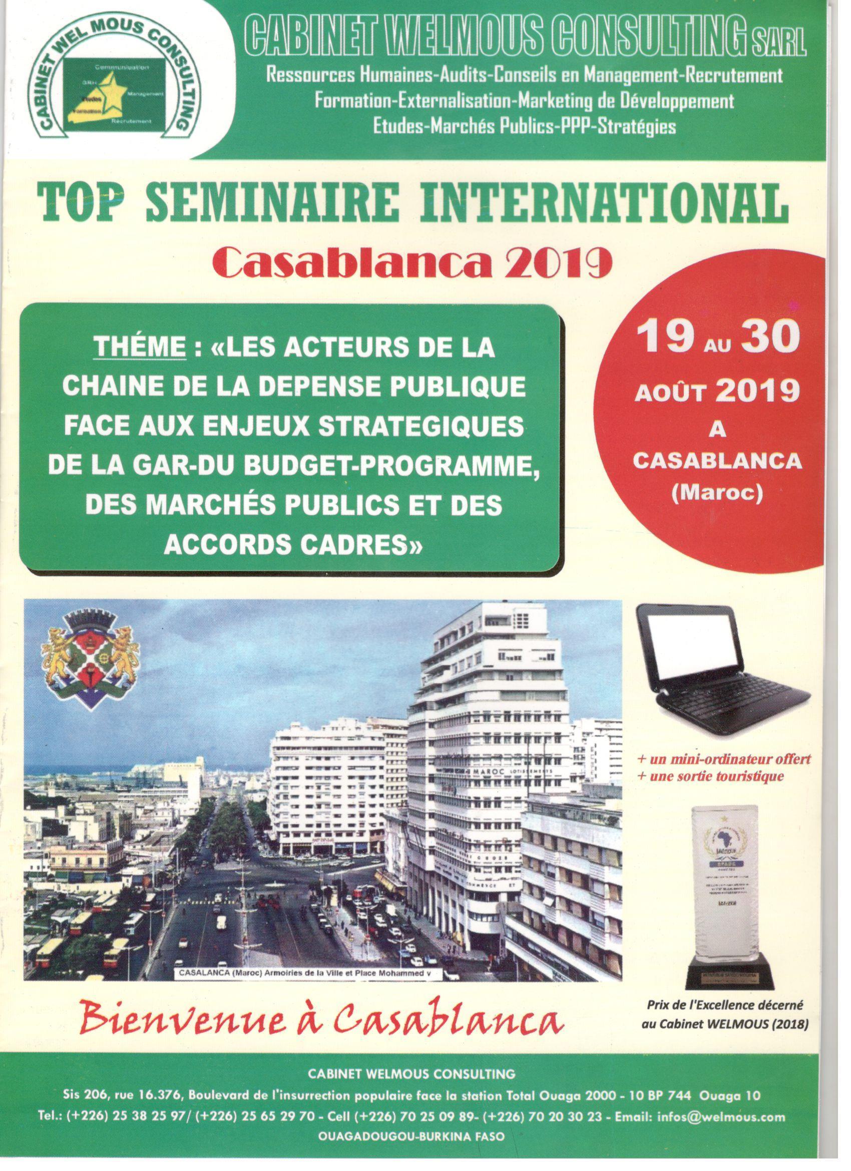 TOP Séminaire International 2019, du 19 au 30 Août 2019 à Casablanca (Maroc).